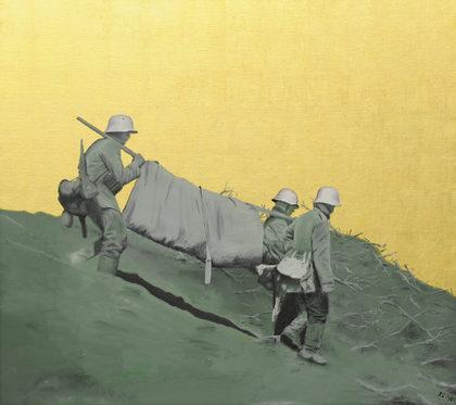 WWI, oil on canvas, leaf gold