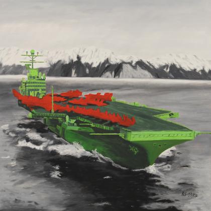 """""""Aircraft carrier"""", Öl auf Leinwand, 100 x 100cm"""