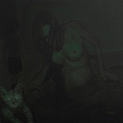 """Nachts sind alle Frauen grün"""", Öl auf Leinwand, 100 x 100cm"""