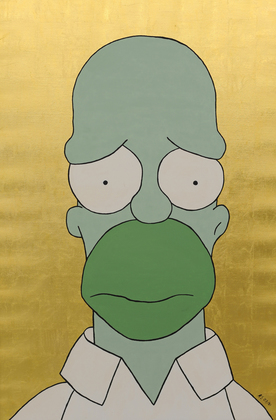 """""""Homer"""", Öl, Blattgold auf Leinwand"""